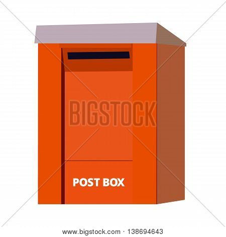 Orange post box. mailbox. isolated over the white background. Vector Illustration EPS10