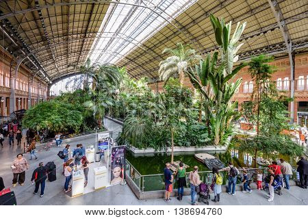 MADRID, SPAIN - NOVEMBER 18, 2014: Atocha Station, the largest station in Madrid.