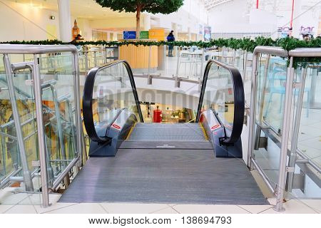 Moscow, Russia, December, 28, 2014: The escalator in the shopping center Mega on December, 28, 2014