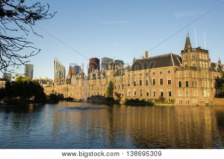 Dutch Parliament Building and Hofvijver in the Hague Den Haag the Netherlands on a sunny evening