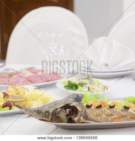 dish at the banquet table