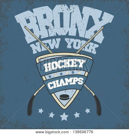 Ice Hockey Club Badge, Typography Template, Sport T-Shirt Graphics. Two crossed hockey sticks, mask and a puck
