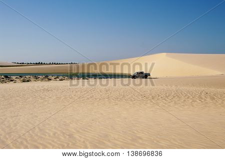 Lagoon and dunes near Jericoacoara, in Brazil