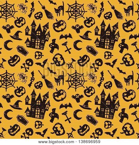 Halloween seamless pattern haunted house jack o lantern bat and ghost