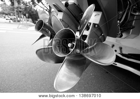 Double Propellers Of A Motor Boat