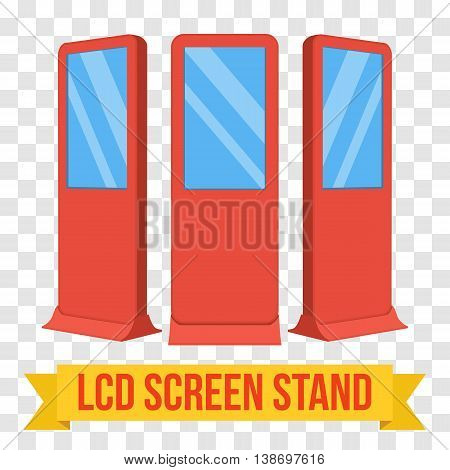 LCD Screen Floor Stand. Red Trade Show Booths with different angles. Vector illustration of kiosk machines on transparent background. Ad template for your expo design with ribbon banner text.