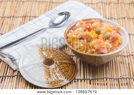 Fried rice in cup / cooking fried rice concept