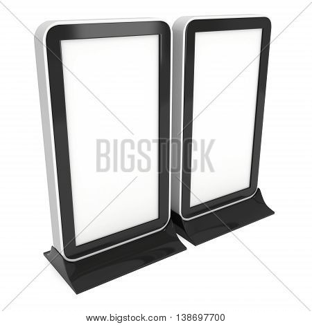 Two LCD Screen Stands. Blank Trade Show Booth. 3d render of lcd screen isolated on white background. High Resolution. Ad template for your expo design.