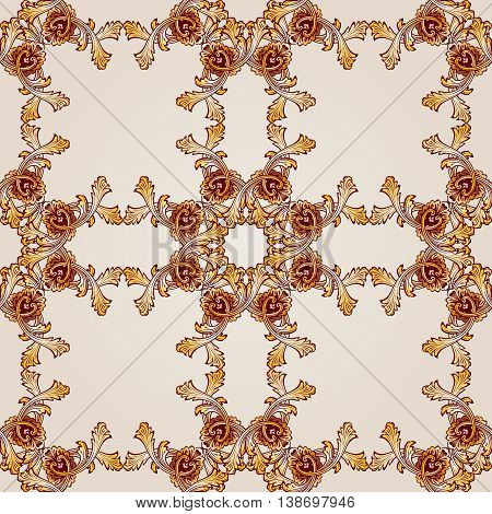 Saturated seamless abstract floral pattern in the form ornate frameworks