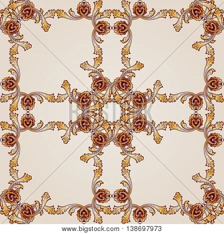 Saturated seamless abstract floral pattern in the form of ornate frameworks