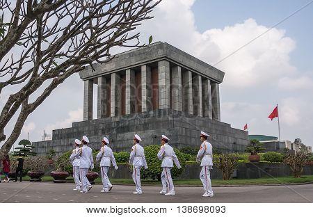 HA NOI, VIET NAM, April 19, 2016 group Vietnam army soldiers, guarding the tomb, caption Ho Chi Minh City, central Ha Noi, Vietnam