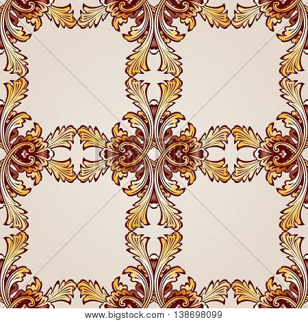 Saturated seamless abstract floral pattern in the form of frameworks
