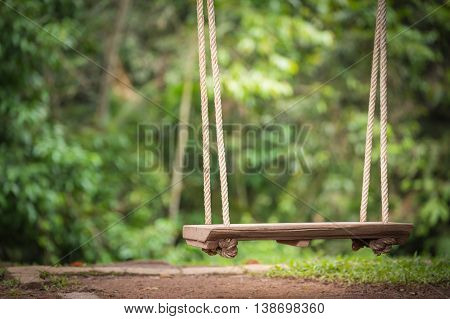 Close focus on swing wooden seat hanging by rope tied under tree which floating above brown soil floor. The background is blurry green trees with yellow warm light.
