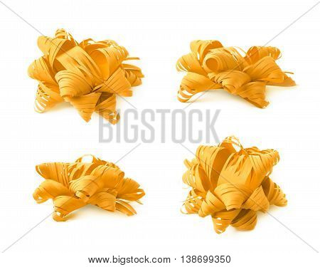Decorational yellow ribbon gift bow isolated over the white background, set collection of four diffirent foreshortenings