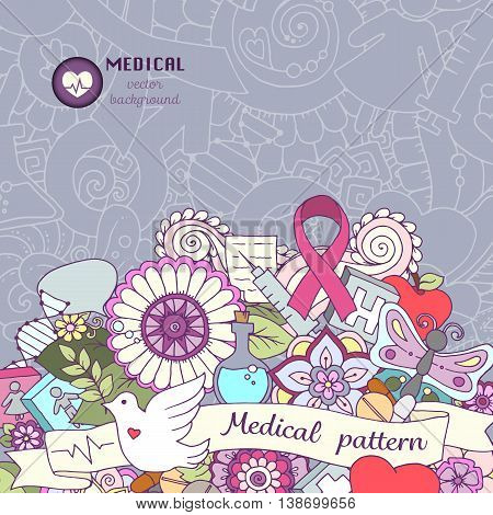 Breast awareness month colorful doodle illustration. Medical Background with pink ribbon dove women and men icons heart abstract breast medicine bottle and pills.