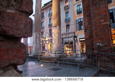 MILAN ITALY - JUNE 17: View of San Lorenzo columns at sunset on June 17 2016