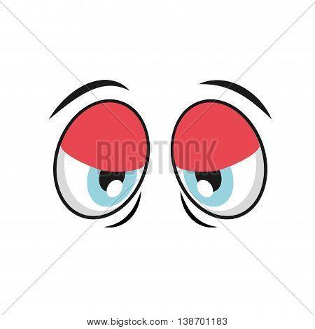 tired cartoon eyes icon, vector illustation character