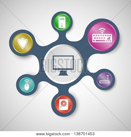 Computer infographic templates with connected metaballs, stock vector