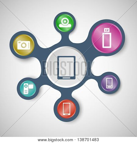 Gadget infographic templates with connected metaballs, stock vector
