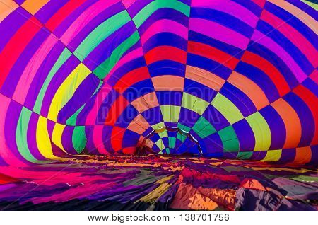Balloon inside view of a hot air balloon being inflated