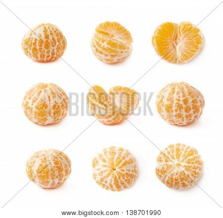 Peeled tangerine isolated over the white background, set of nine different foreshortenings