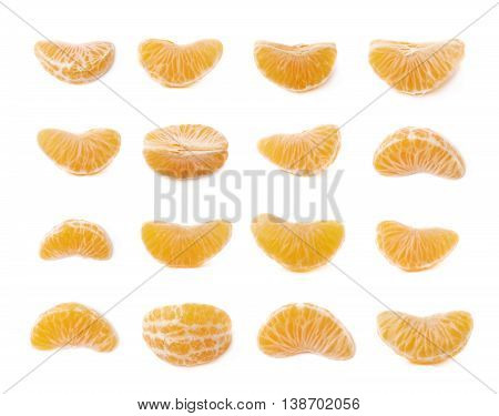 Single tangerine slice isolated over the white background, set of multiple different foreshortenings