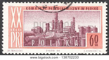 MOSCOW RUSSIA - CIRCA JANUARY 2016: a post stamp printed in POLAND shows a power station Turoszow the series