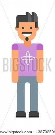 Modern hipster boy vector illustration.