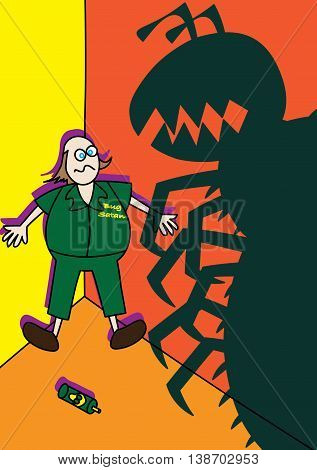 pest control worker fighting monster giant bugs vector illustration