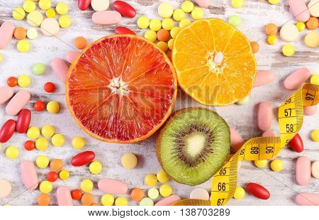 Natural Fruits, Centimeter And Medical Pills, Slimming, Choice Between Healthy Nutrition And Medical