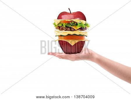 hand holding a burger apple on a white background