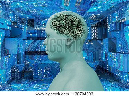 cyborg with transparency in the head showing mechanical brain