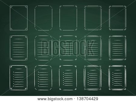 Set of line and hand drawn frames and lists on green chalkboard. Vector illustration