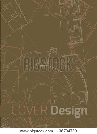 Drawing of abstract architectural detail on flatbrown  surface. Image of colorful blueprint for use as background for web and print. Template for cover or banner with draft plan of a building.