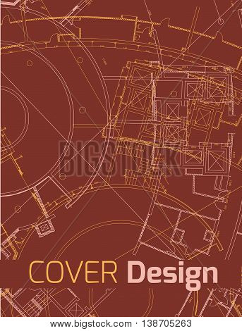 Drawing of abstract architectural detail on red flat surface. Image of colorful blueprint for use as background for web and print. Template for cover or banner with draft plan of a building.