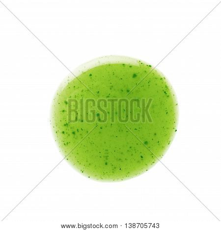 Round spill stain of sauce dressing isolated over the white background