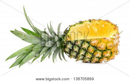 Yellow pineapple isolated on white background .