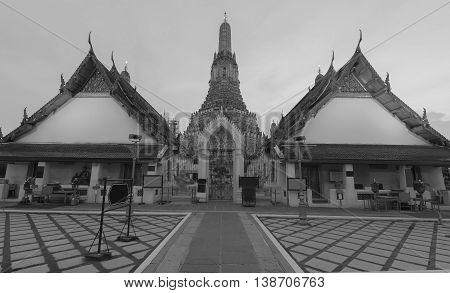 Black and White, Arun temple close up, Bangkok Thailand Landmark