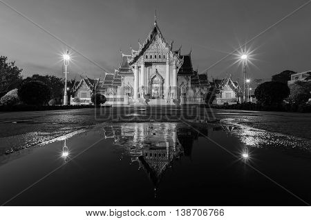 Black and White, Marble temple with water reflection, Thailand landmark