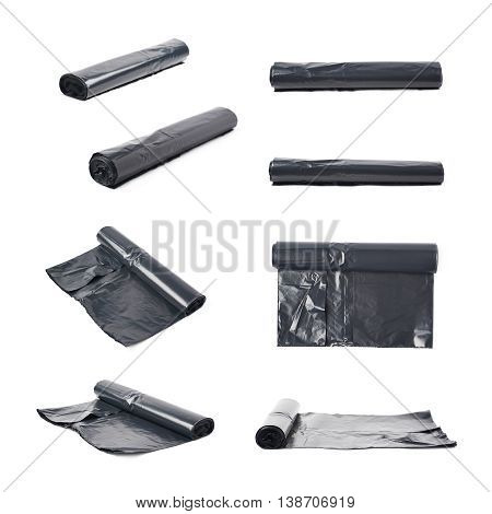 Roll of black plastic garbage bags isolated over the white background, set of multiple different foreshortenings