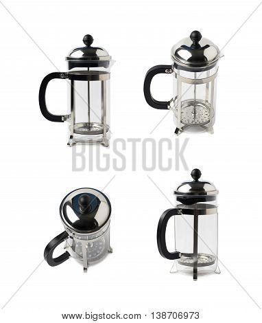 Empty glass french press coffee pot isolated over the white background, set of four different foreshortenings