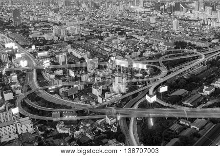 Black and White, Aerial view highway interchanged in Bangkok downtown, Thailand