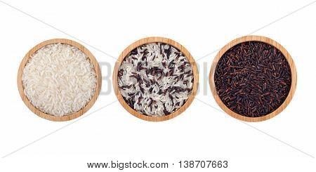 basmati rice and rice berry in wood bowl