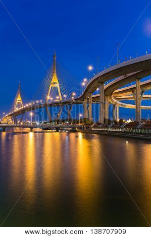 Twilight at Suspension bridge connect to highway waterfront, Bangkok Thailand