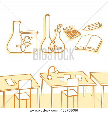 Chemistry. Classroom and equipment to practice chemistry