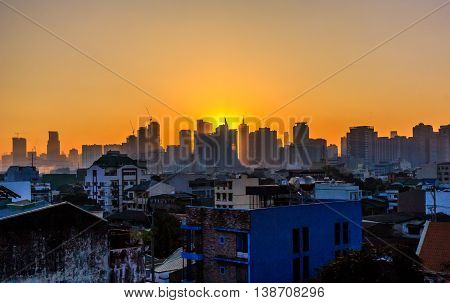 Sunrise over the city of Manila in the Philippines