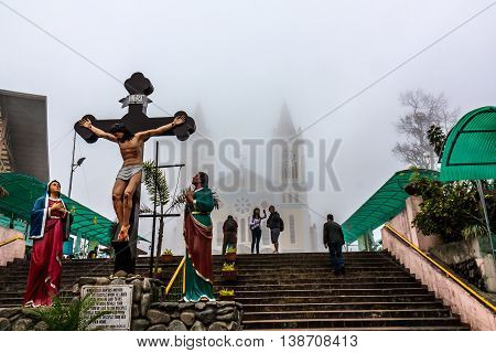 A cathedral on a foggy day in the Philippines