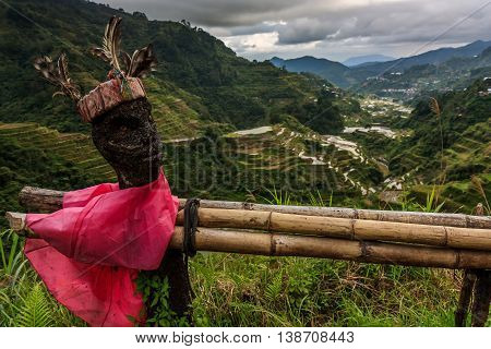 A traditional rice guardian idol in the ancient terraces of the Philippines
