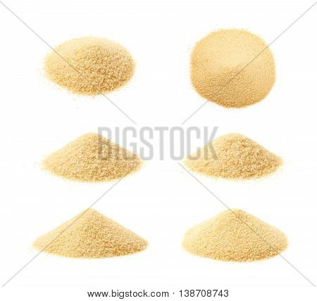 Pile of stevia cane sugar isolated over the white background, set of six different foreshortenings