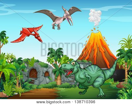 Many dinosaurs in the field illustration